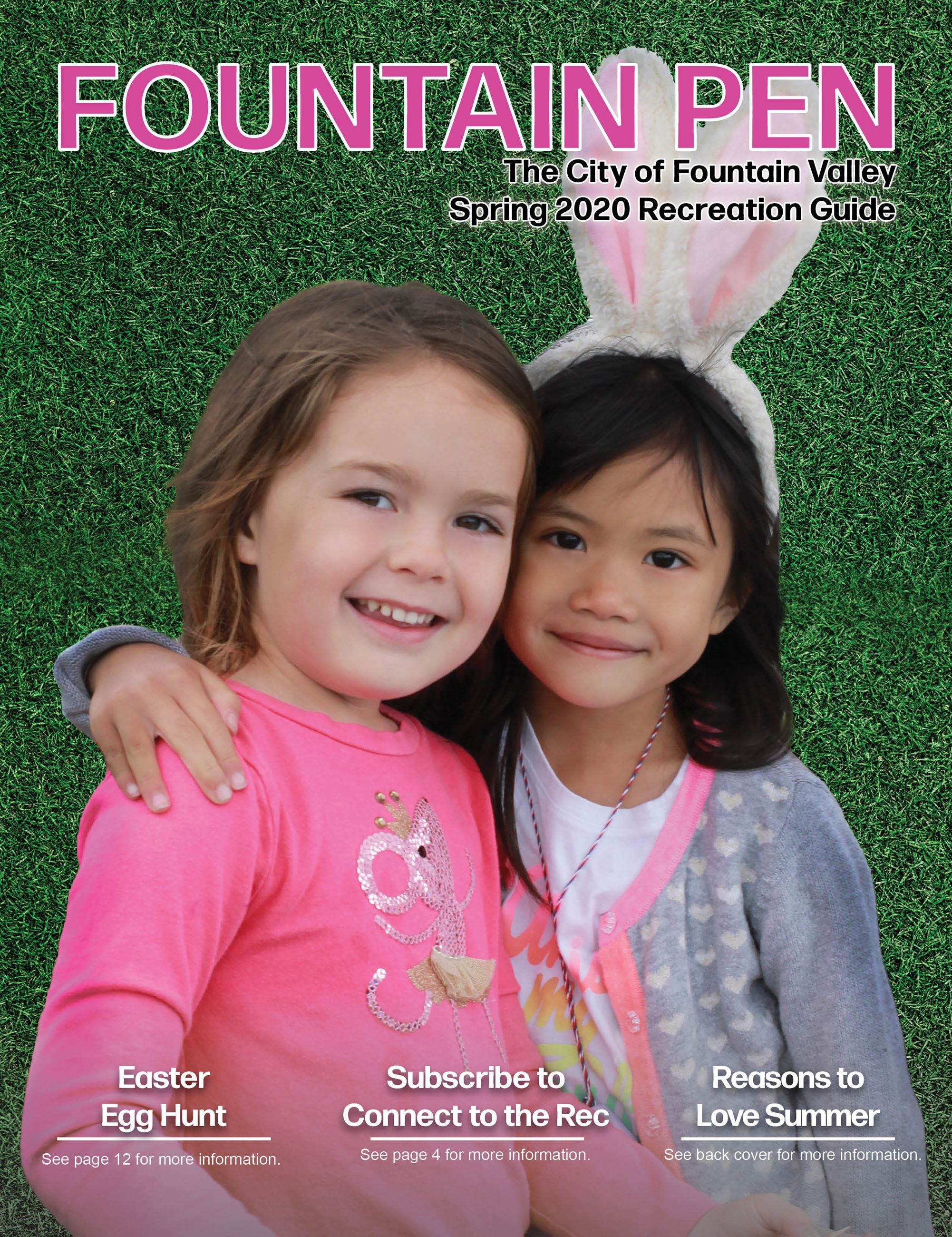 The Spring Fountain Pen Cover, photo of two girls smiling and hugging at the Easter Egg Hunt.