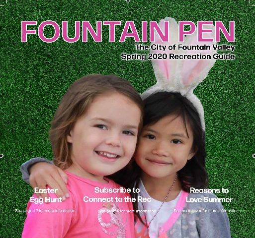 Spring 2020 Fountain Pen Cover with 2 children in easter colors on Green grass background