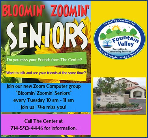 Zoom notice for seniors. includes photo of Center and FV Recreation Logo