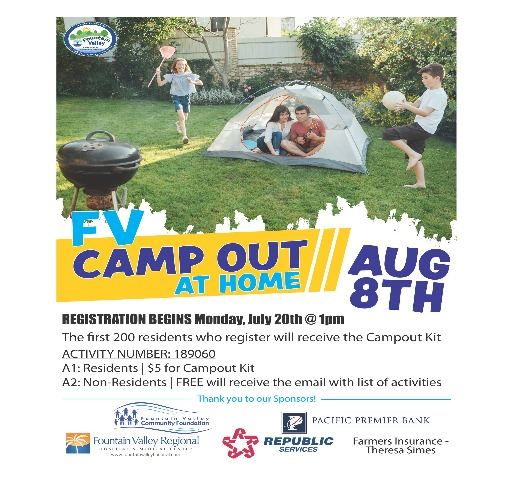 Virtual Camput photo a kids in tent in backyard with a grill and info on campout