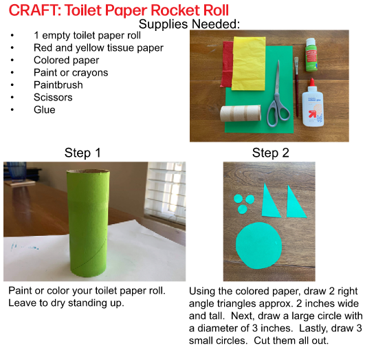 Make a paper rocket roll with the FV Fun at Home activity book