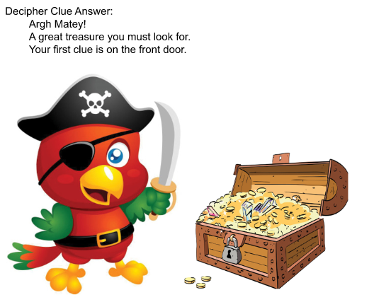 Pirate bird with a treasure box