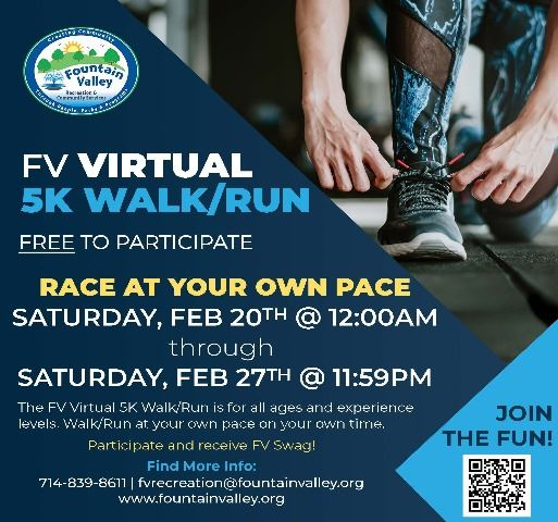 Virtual 5K Flyer blue background, close up of running shoe being tied.
