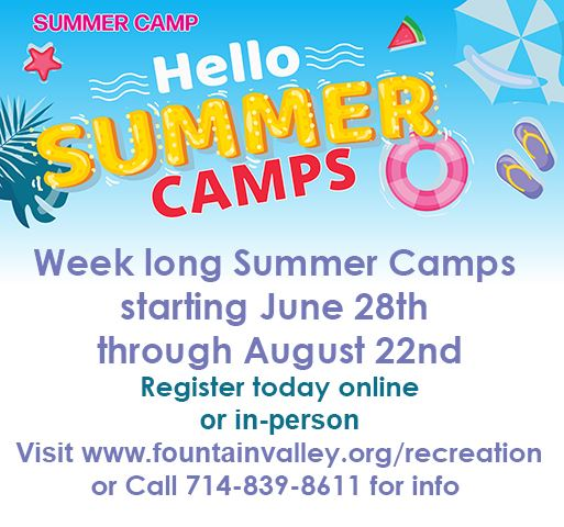 summer camp graphic blue background with sandals, watermelon, and text about registration