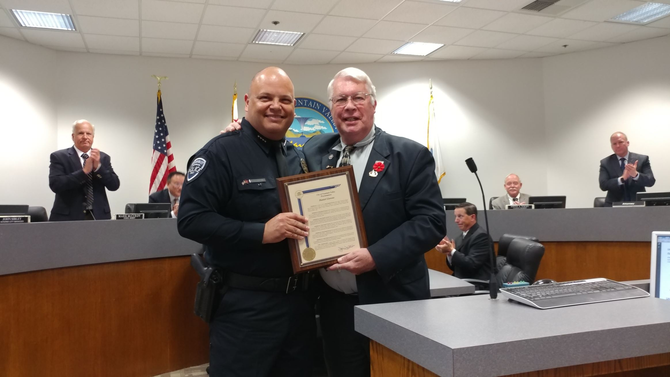 Proclamation Recognizing Police Chief Dan Llorens for His Service to the City of Fountain Valley