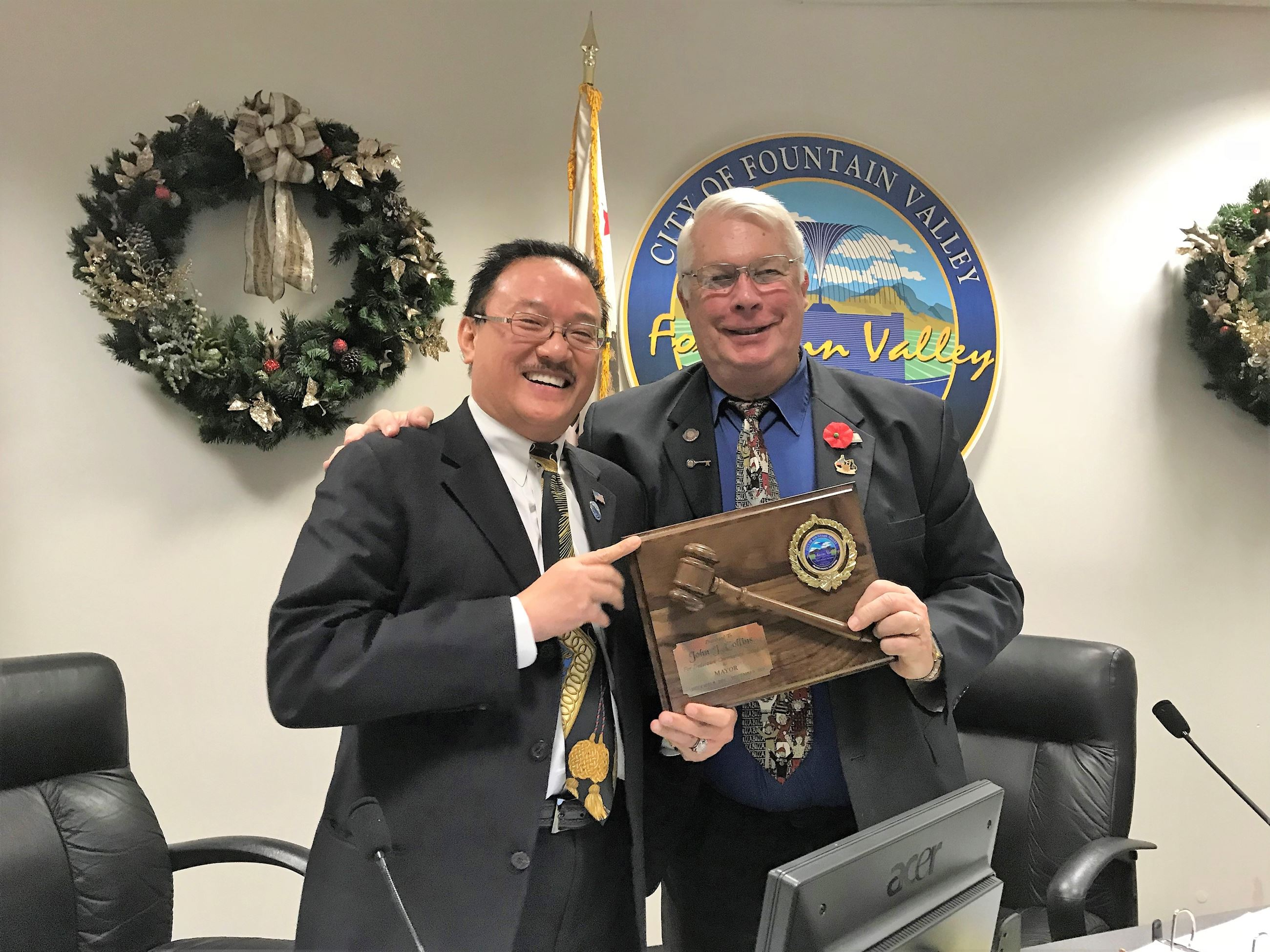 Presentation to Outgoing Mayor Collins by Mayor Pro Tem Michael Vo