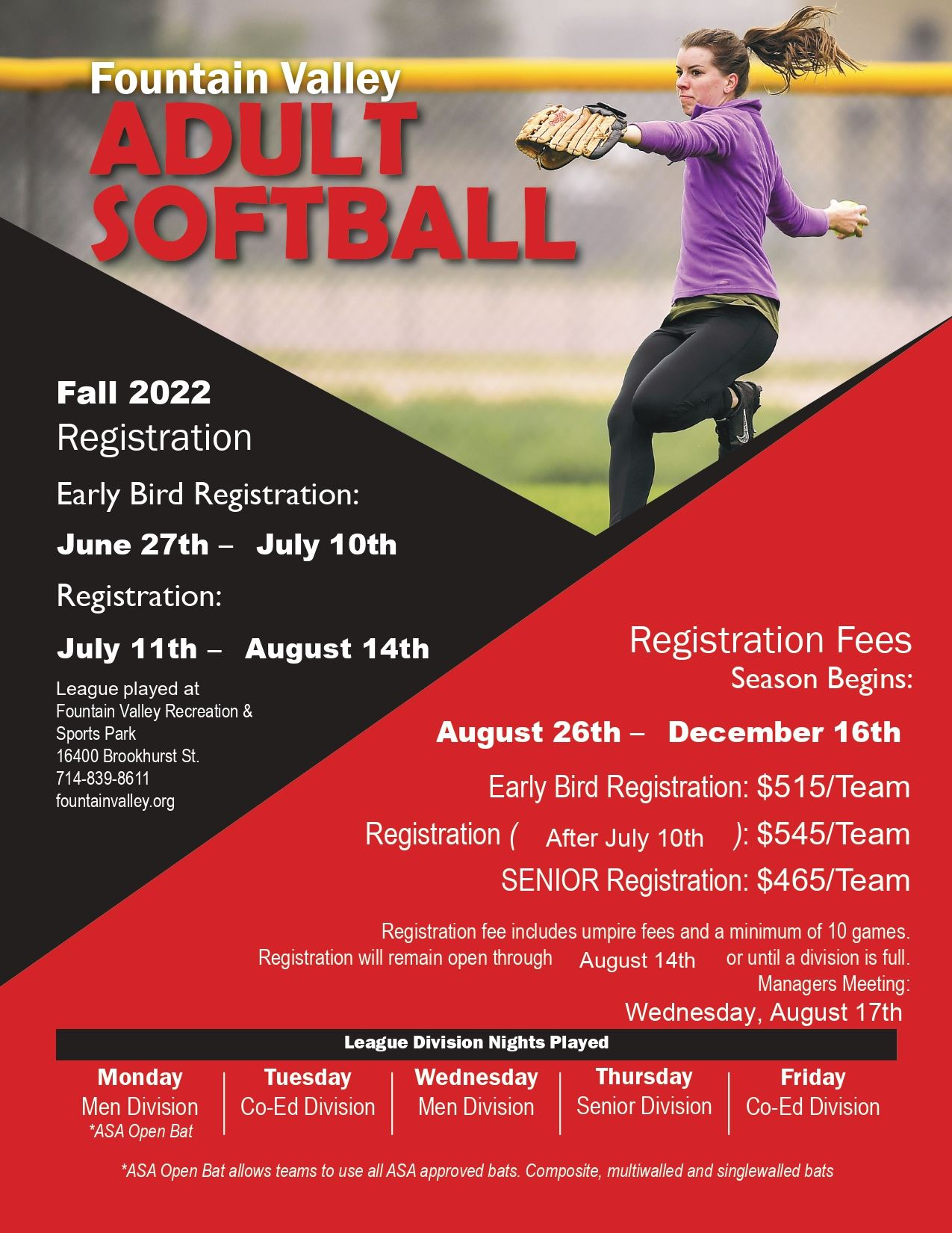 Softball Flyer Fall 2020