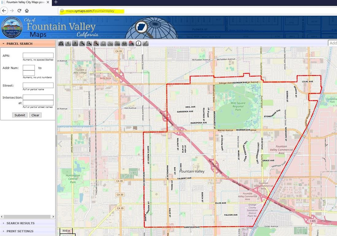 Picture of map of Fountain Valley