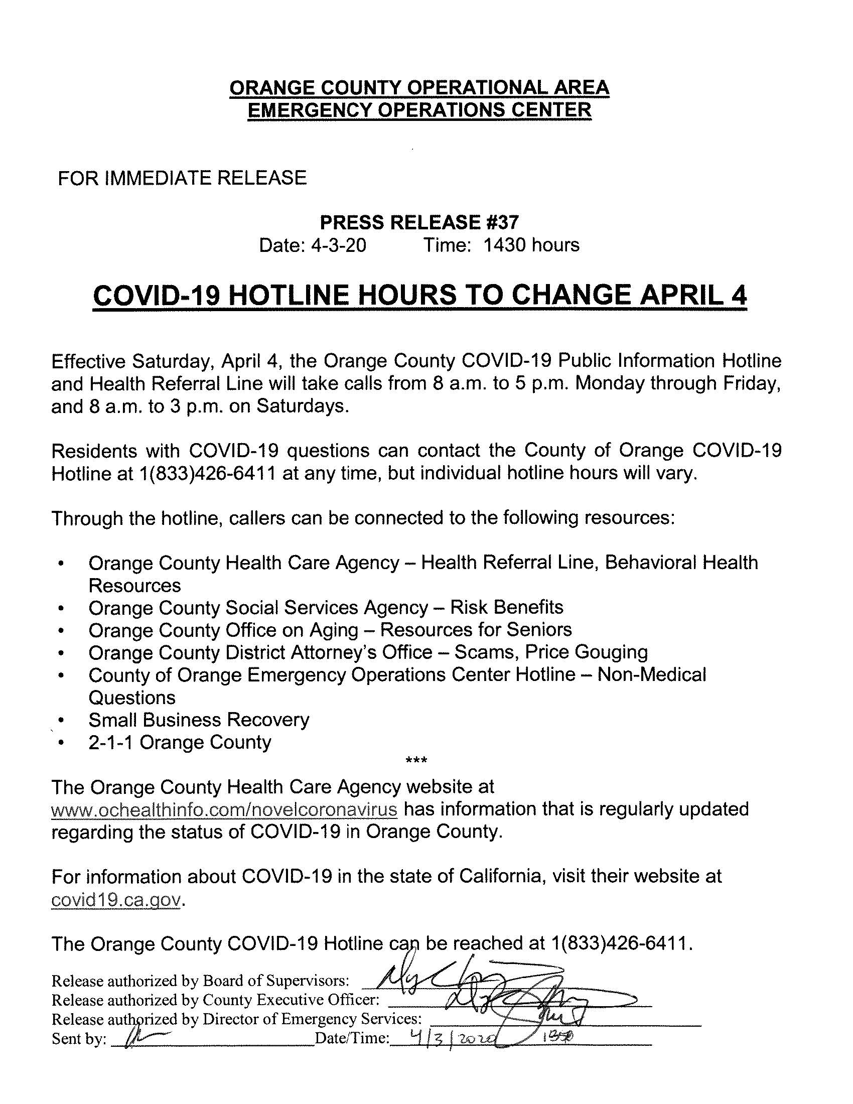 EOC Press Release 37 - COVID-19 Hotline hours to change April 4