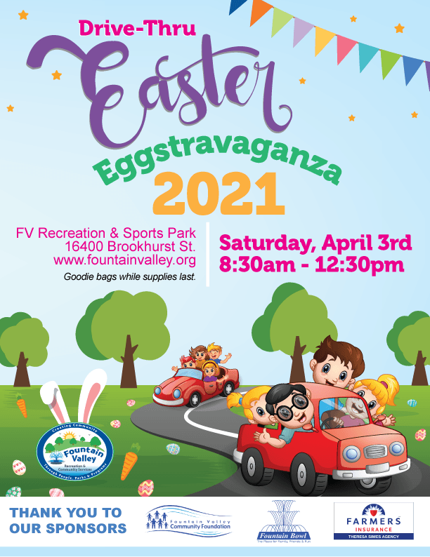 Drive thru easter eggstavaganza april 3 at 8:30am to 12:30pm