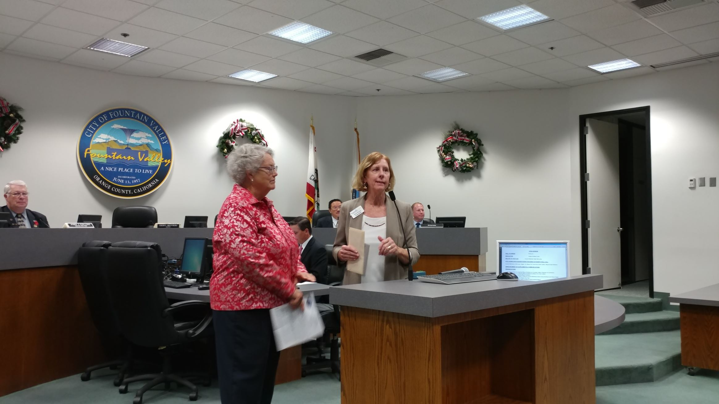 Presentation to outgoing Mayor Brothers  by the Fountain Valley Chamber of Commerce.