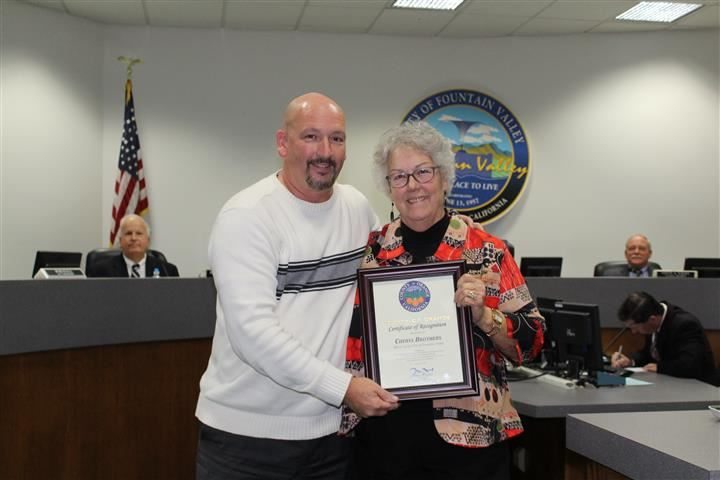 Tim Whitacre presented the Certificate of Recognition to Councilmember Cheryl Brothers on behalf of Chairwoman Supervisor Michelle Steel